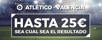 Promoción apuestas de fútbol: Hasta 25€ en Freebets con el Atlético - Valencia