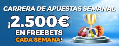 Promoción Carrera de Apuestas: ¡Repartimos 2.500€ en Freebets cada semana!