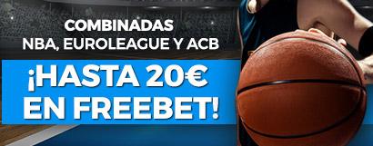 Combina tus apuestas de baloncesto y si aciertas ¡Freebet de 5€!