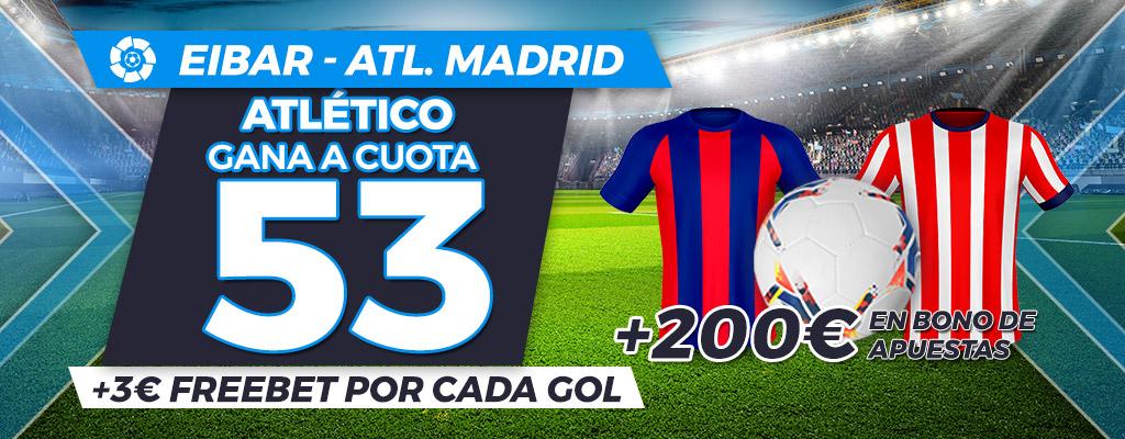 Megacuota: Atlético Madrid gana a cuota 53 al Eibar