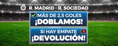 Apuestas Real Madrid - Real Sociedad, +2,5 goles ¡doblamos! Si hay empate ¡devolución!
