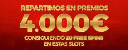 Repartimos 4.000€ en Bonos de Casino entre los que consigan 20 Free Spins