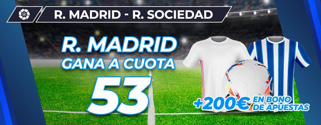 Megacuota: Real Madrid gana a cuota 53 al Real Sociedad