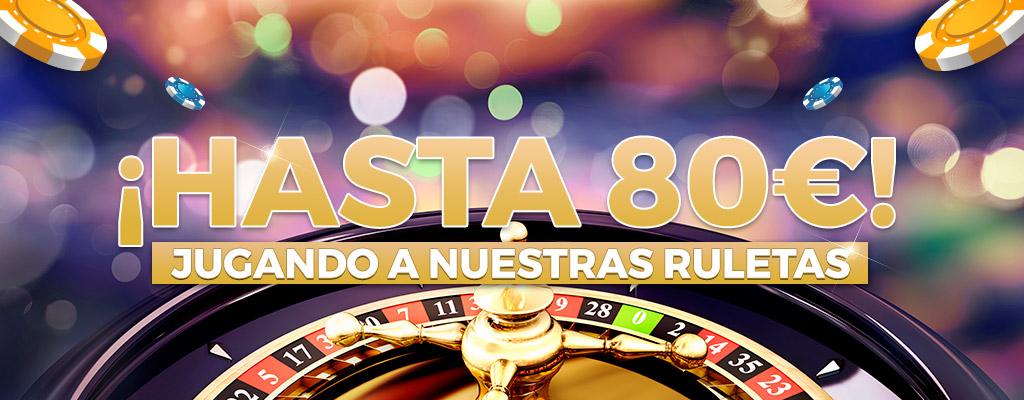 Por cada 100€ jugados a la ruleta te regalamos 20€ hasta un máximo de 80€
