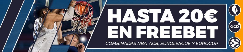 Haz tus apuestas de baloncesto combinadas y consigue hasta 20€ en Freebets