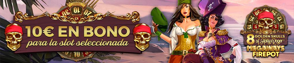 ¡Regalo de 10€ en Bono de Casino para la slot 8 Golden Skulls of Holly Roger!