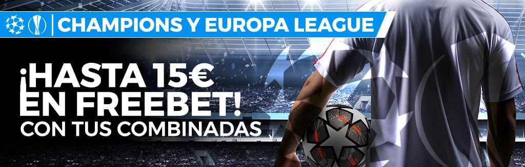¡Realiza tus apuestas de fútbol combinadas de 2 selecciones y gana una Freebet de 5€!