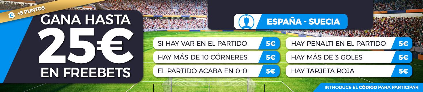 Promoción apuestas de fútbol: Hasta 25€ en Freebets con el España - Suecia