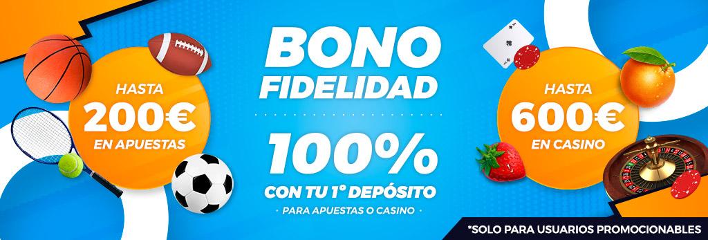 Promoción Bono por Fidelidad: 100% en tu primer depósito para Apuestas o Casino