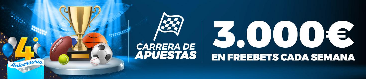 Carrera de Apuestas especial 4º Aniversario: ¡Repartimos 3.000€ en Freebets!