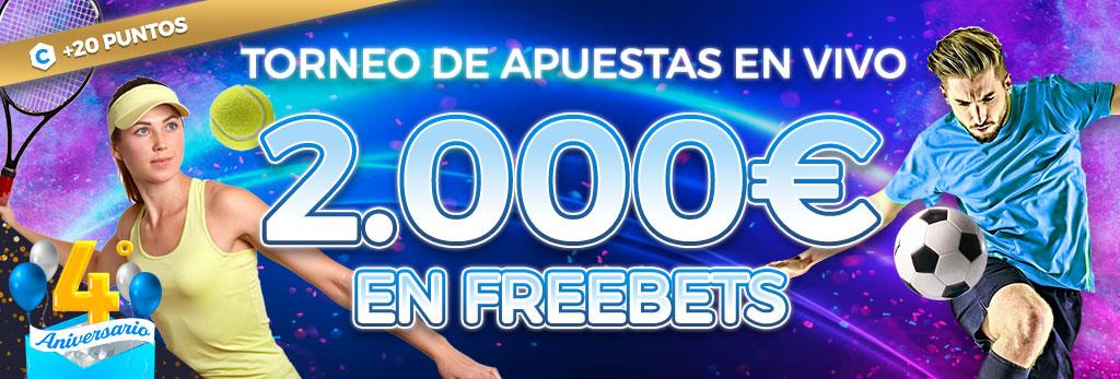 Participa en el torneo de apuestas en Vivo ¡Repartimos 2.000€ en Freebets!