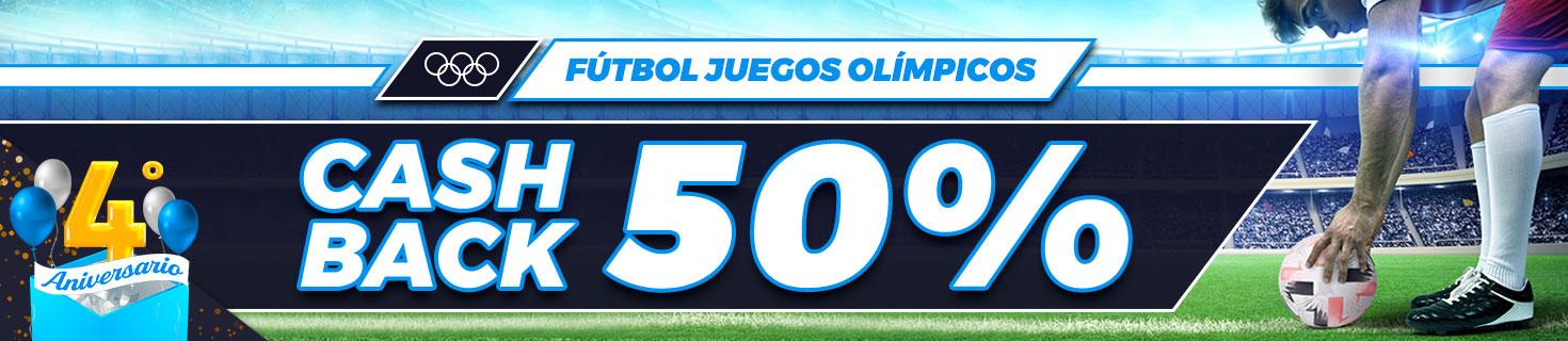 Bonificamos el 50% de tus pérdidas en tus apuestas de fútbol a los partidos de los JJOO
