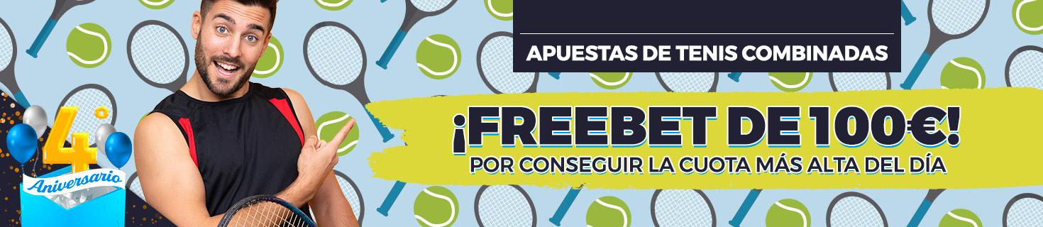 Promoción para tus apuestas de tenis: Llévate cada día una Freebet de 100€