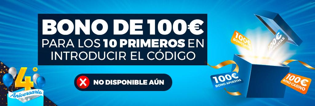 ¡Bono de 100€ para los primeros 10 usuarios en introducir el código!