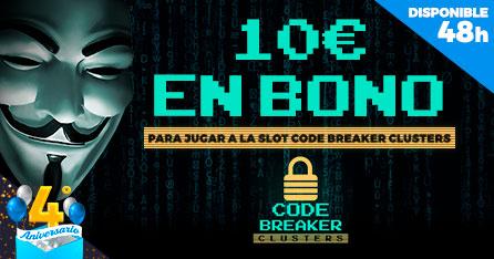 4º Aniversario: ¡10€ en Bono de Casino para la slot Code Breaker Clusters!