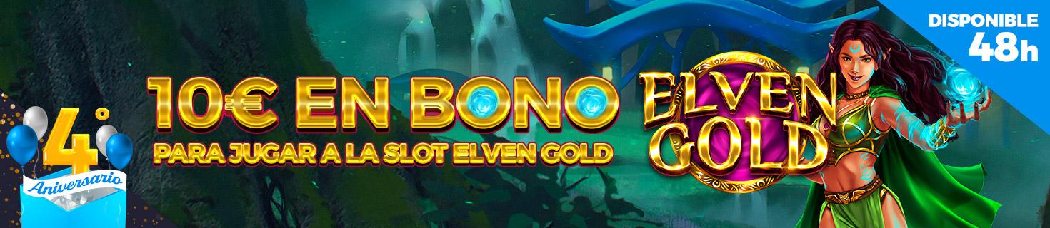 4º Aniversario: ¡10€ en Bono de Casino para la slot Elven Gold!