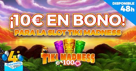 4º Aniversario: ¡Regalo de 10€ en Bono de Casino para la slot Tiki Madness!