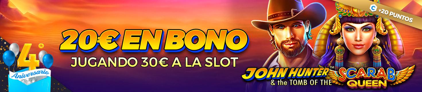 ¡Llévate hasta 100€ en Bono con la Slot John Hunter and the Scarab Queen!