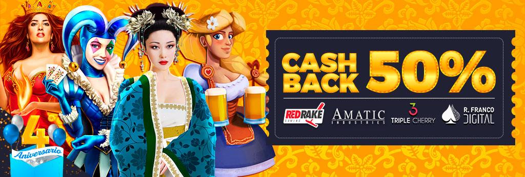 4º Aniversario: ¡Cashback del 50% en todas las marcas seleccionadas de Slots!