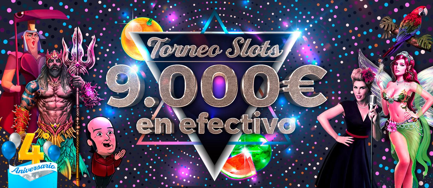 Juega las slots del Torneo Especial 4º Aniversario y llévate uno de los 9.000€ que repartimos
