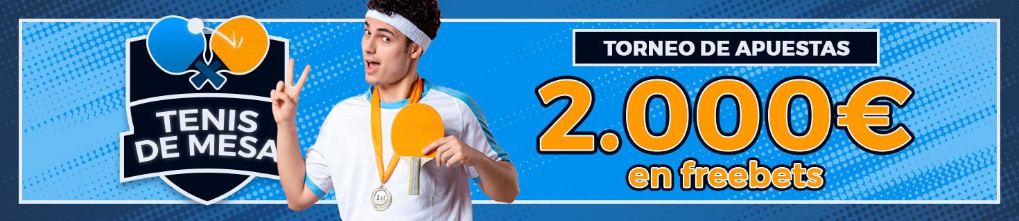 Promoción tenis de mesa: ¡Repartimos 1.000€ en Freebets!