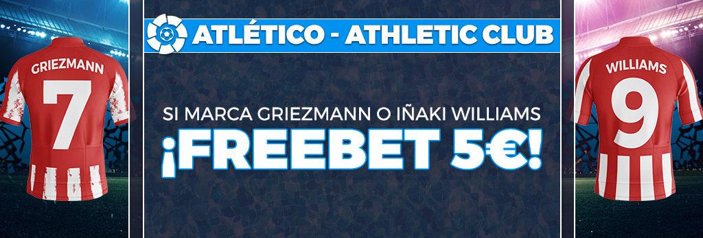 Promoción apuestas de fútbol: Si Griezmann o Iñaki Williams marcan, ¡Freebet de 5€!